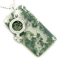 Female Lucky Symbol Amulet Silver Moss Agate Pendant Necklace