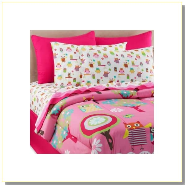 Hot Pink Blue Yellow Green Owl Hoot Nature Girls Twin Comforter Set (6 piece Bed in a Bag)