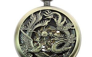 Itemstoday Mens Antique Phoenix and Dragon Roman Number Dial Skeleton Mechanical Pocket Watch