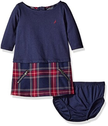 Nautica-Baby-Girls-Layered-Knit-Dress-with-Quilted-Plaid-Skirt