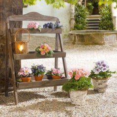 Outdoor Wooden Plant Stand-Plant Stand for Outdoor or Greenhouse, Three Shelves Product SKU: GD221582