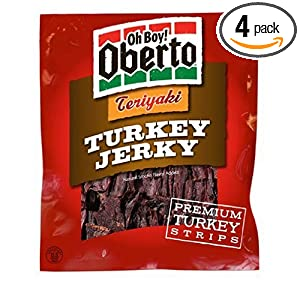 Oh Boy! Oberto Teriyaki Turkey Jerky, 3.25-Ounce Bags (Pack of 4)