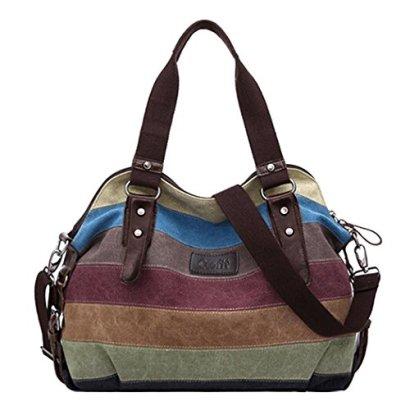Coofit-Stripe-Leisure-Canvas-Top-Handle-Cross-Body-Bag-Tote-Handbags-for-Women-Model-A