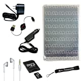 Silicone Skin Cover Case, USB 2in1 Data Cable, Car Charger, and Wall Charger with 4-inch eBigValue TM Determination Hand Strap for the Sony Reader eBook Touch Edition PRS-600 + 4GB Mini SD Card with SD Card Adaptor (Good to listen to your MP3's with Sony Reader) + Stereo In-Ear Headphones (White) (Ultimate Combo, Retail: $80.00)