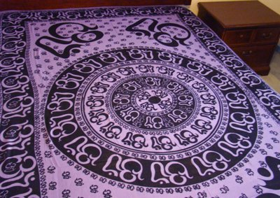 """Hippie/Indian Tapestry/Wall/Bedspread/Tablecloth Om Chakra 72"""" x 108""""CPS OCP"""
