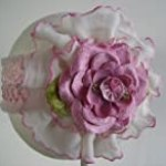 Pink Ruffles and Lace with Roses Baby Headband