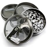 Chromium Crusher 2.5 Inch 4 Piece Tobacco Spice Herb Grinder - Pick Your Grinder (Gunmetal Zinc w/ Mill Handle)