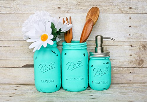 Bright Turquoise Blue Handmade Painted and Distressed Mason Jar Kitchen Utensil Holder- Kitchen Accessory Containers- Metal Soap Pump
