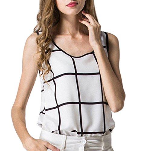 MIOIM タンクトップ レディース カジュアル ブラウス 黒白色 チェック スタイル ワイルド 半袖 トップス 夏 エレガント シフォン シャツ ノースリーブシャツ