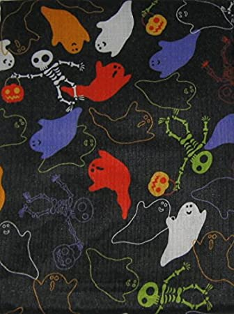 Halloween Black with Colorful Ghosts Skeleton Jack-O-Lanterns Fabric Tablecloth (60 Inch Round)