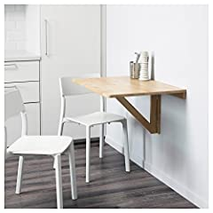 IKEA NORBO Solid Birch Wall-Mounted Drop-Leaf Bar Table