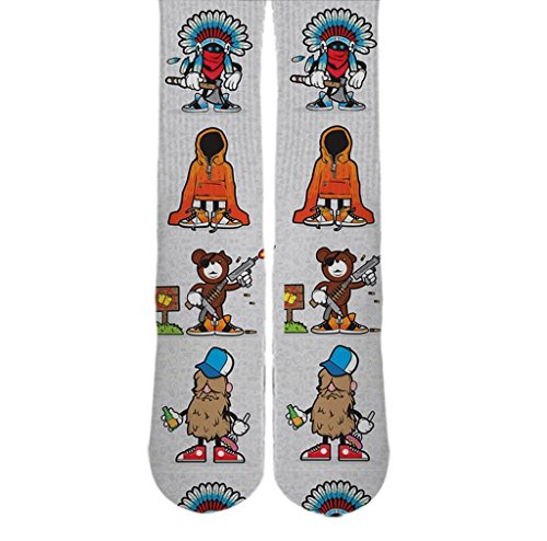 Dopesox Mens Sticker Bomb Graphic Sublimated Custom Socks One Size (6-12) White