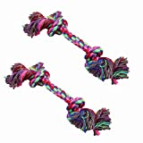 Yosoo 17cm Colorful Strong Washable Braided Bone Rope Cotton Knot Chew Toy, Soft and Funny Pet Toy Ropes for Your Lovely Sweet Pet Puppy Dog Cat, (Color By Random) (2 Piece)