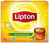 Lipton Black Tea Bags, Decaffeinated 75 ct (Pack of 2)