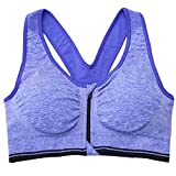 Women's Front Zip Wirefree Padded Push up Workout Sports Bra Top(Blue,M)