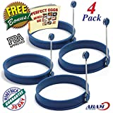 NEW Chef Silicone Egg - Pancake Breakfast Sandwiches - Benedict Eggs - Omelets and More Nonstick Mold Ring Round, Blue (4-pack)