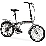 "GTM 20"" 6 Speed Foldable Bicycle Folding Bike Fold Storage,Shimano Hybrid, Silver"