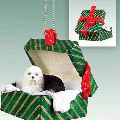 Old English Sheepdog Ornament in Gift Box