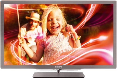 Philips 32PFL7606K/02 81 cm (32 Zoll) Ambilight 3D LED-Backlight-Fernseher, Energieeffizienzklasse B (Full-HD, 400 Hz PMR, DVB-T/C/S, Smart TV) silbergrau
