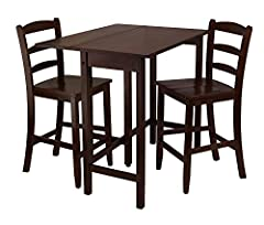Winsome Lynnwood Drop Leaf High Table with 2 Counter Ladder Back Stool/Chair, 3-Piece