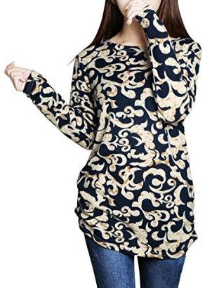 Allegra-K-Woman-Novelty-Prints-Long-Sleeves-Round-Neck-Tunic-Knit-Shirt-Beige-M