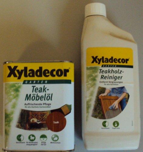 750 ml Xyladecor Teak-Möbelöl, Farbton Teak u. 750 ml Teakholz-Reiniger (8,66EUR/L)