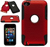 Protective Dual Hard Case and Soft Silicone Skin for Apple iPod Touch 4th Generation (Metallic Red)