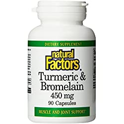 Natural Factors Turmeric and Bromelain (300mg/150mg) 450 mg total Capsules, 90-Count