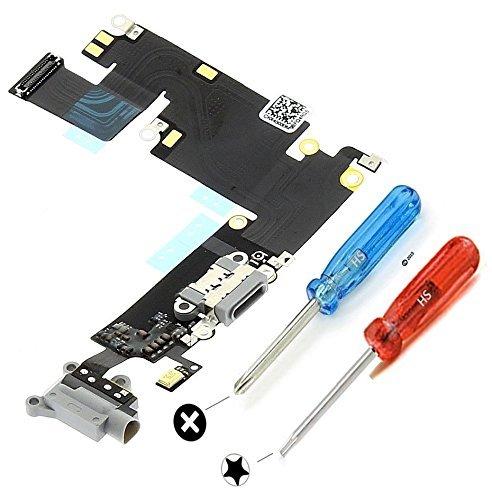iPhone 6 Plus ドックコネクタ修理用パーツ USB充電ポート フレックスケーブル ブラック マイクおよびホームボタンコネクタ組立て済み ドライバー×2本付属で組立て簡単