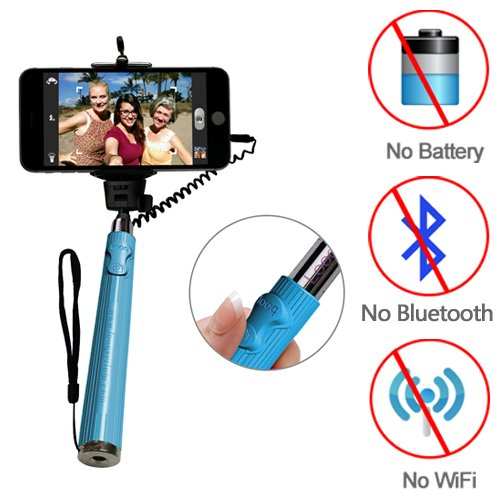 Looq System DG-LB01 Wired Extendable Third Generation Selfie Monopod for Android and iOS Smart Phones - Blue
