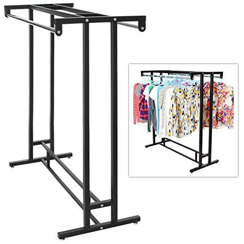 Stainless Steel Double Rod Hangrail Department Store Style Clothes / Garment Floor Display Rack - MyGift®