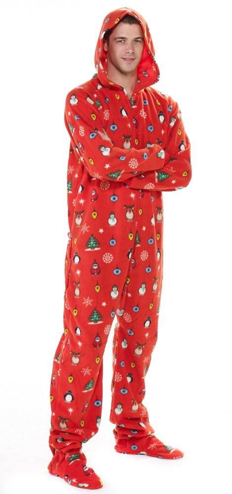 Footed Pajamas Holly Jolly Christmas Adult Hoodie One Piece