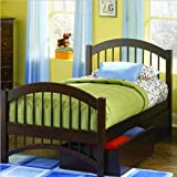 Caramel Latte Atlantic Furniture Windsor Twin Platform Bed with Double Arch Footboard