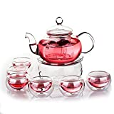 Jusalpha Glass Filtering Tea Maker Teapot with a Warmer and 6 Tea Cups Set
