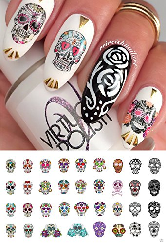 Sugar Skull Nail Art Day of the Dead Decals Assortment #2