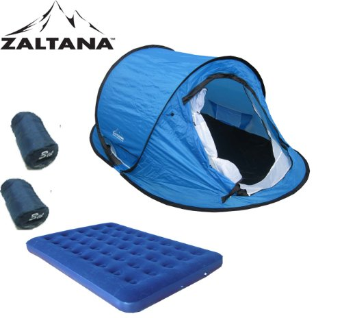 POP UP TENT WITH AIR MATTRESS(DOUBLE) AND 2PCS 3LB SLEEPING BAG