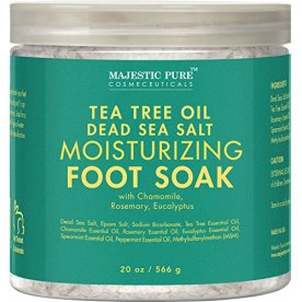 Majestic Pure Tea Tree Essential Oil Foot Soak with Epsom Salt, 20 oz - Fights Toenail & Foot Fungus - Soothes Tired Aching Feet & Helps Soften Corns & Calluses