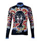 QinYing Animal Printing Floral Long Sleeve Bicycle Cycling Jersey for Women XL