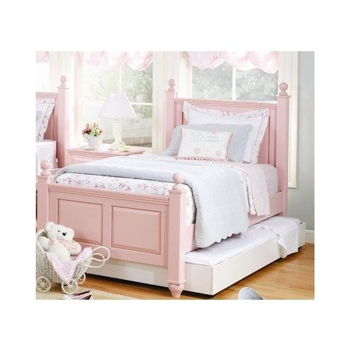 Girl's Shabby Chic, Petal Pink Twin Four Poster Bed Frame