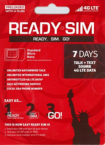 アメリカ プリペイド SIM Ready SIMカード Nanoサイズ!アクティベーションが簡単!アメリカ国内通話定額、データ通信定額! 通話とSMS、データ通信500MB 7日間