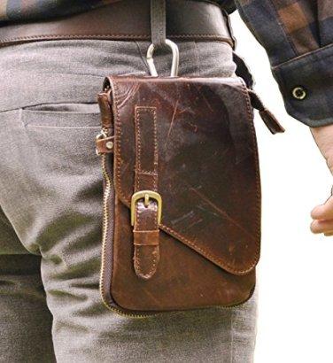 Leaokuu-Mens-Genuine-Leather-Coffee-Fanny-Small-Messenger-Shoulder-Satchel-Waist-Bag-Pack-Coffee