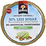 Quaker 50% Less Sugar Instant Oatmeal Express Cups, Apple Walnut, 1.34 Ounce