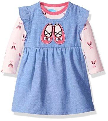 BON-BEBE-Baby-Girls-2-Piece-Chambray-Dress-Set-with-Longsleeve-Bodysuit