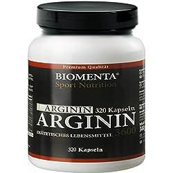 Biomenta L-Arginin hochdosiert - 3600 mg - 320 Kapseln, 2-3 Monatskur