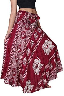 Bangkokpants-Womens-Long-Bohemian-Hippie-Skirt-Elephant-Red-US-Size-0-12