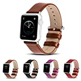Apple watch bands,Fullmosa (TM) Lichi Calf leather Strap Replacement band with Stainless Metal Clasp for iWatch Brown 42mm