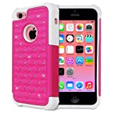 Fosmon HYBO-SD Series PC + Silicone Hybrid Bumper Diamond Bling Case for Apple iPhone 5C (Hot Pink / White)