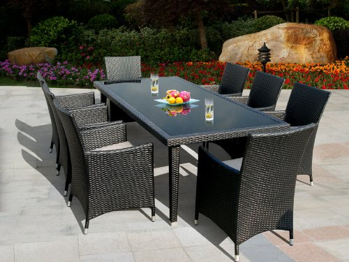 buy genuine ohana outdoor patio wicker furniture 9pc all weather dining set with free patio cover furniture set sale