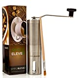 Premium Manual Coffee Grinder ✪ Ceramic Burr ✪ Stainless Steel ✪ Hand Crank Operated ✪ With FREE Brush ✪ From SimpleEleven
