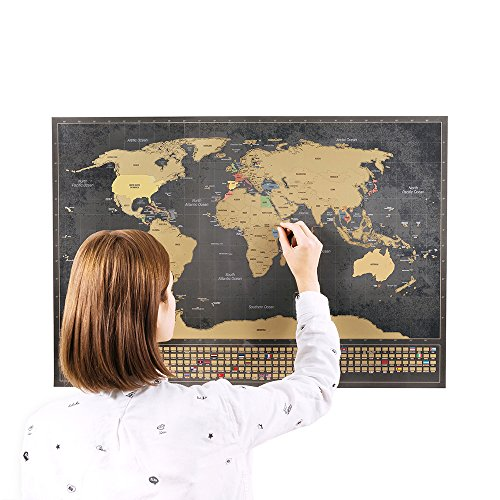 Rubbellandkarte mit Fahnen - Kommt mit einem BONUS A4 Größe Rubbellandkarte der Deutschland! - Personalisiertes Poster um Reisen zu verfolgen - Zeigen Sie Ihre Abenteuer! | Einzigartiges Design von ENNO VATTI